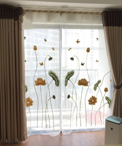 rèm vải hai lớp voan thêu hoa sen