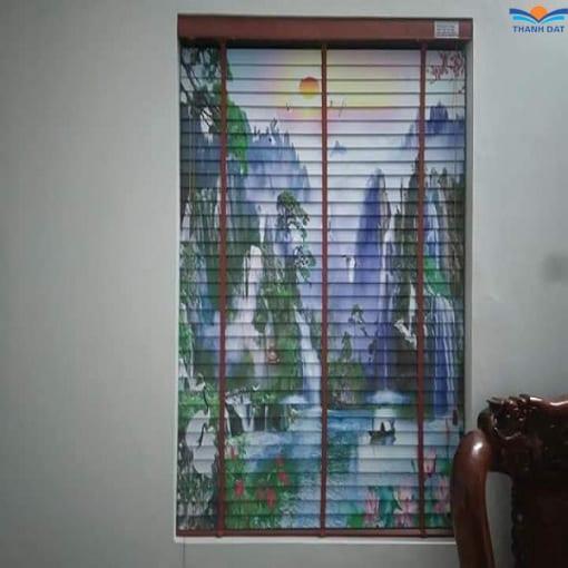 rèm gỗ in tranh sơn thủy