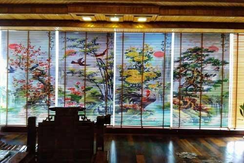 Rèm gỗ in tranh
