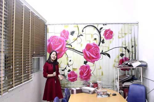 Rèm lá dọc in tranh hoạ tiết hoa hồng