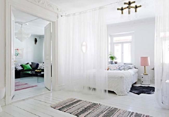 rèm ngăn phòng màu trắng