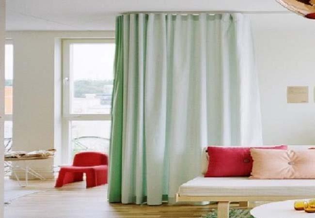 rèm ngăn phòng ngủ tông màu xanh giá rẻ