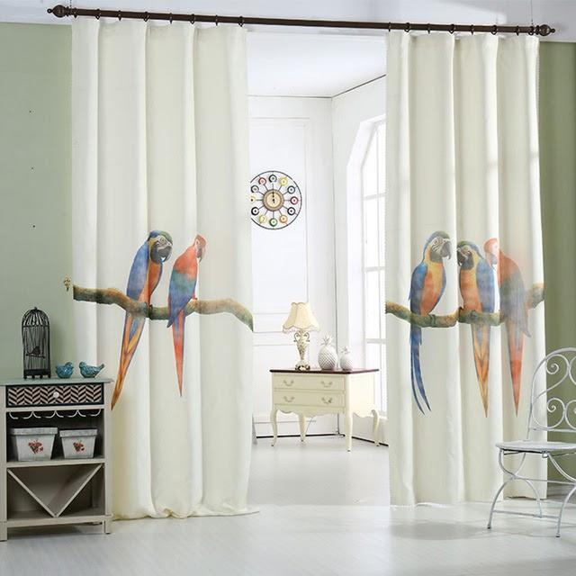 rèm vải họa tiết con vật