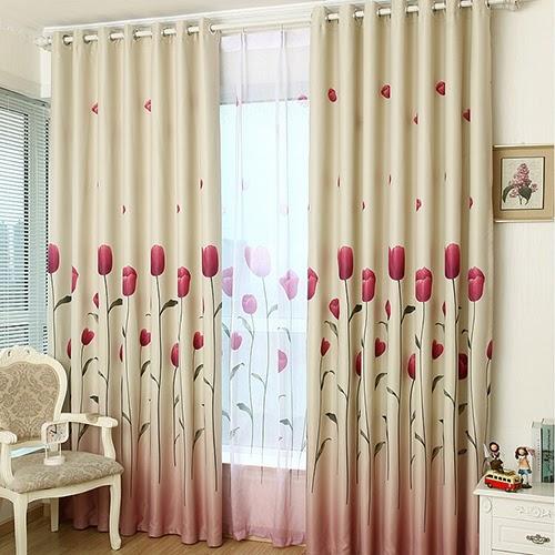 rèm vải họa tiết hoa tulip