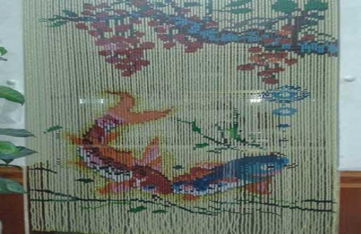 Rèm cửa hạt nhựa kết tranh Cá Chép