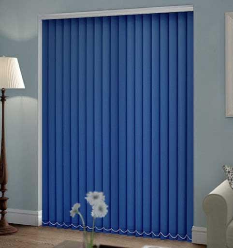 rèm lá dọc màu xanh coban