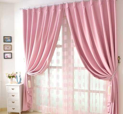 rèm vải màu hồng nhat