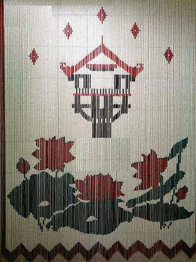 Rèm hạt gỗ phong thủy hình hoa sen kết hợp chùa một cột