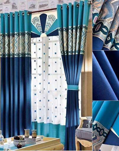 Rèm cửa xanh coban được kết hợp nhiều màu sắc và họa tiết.