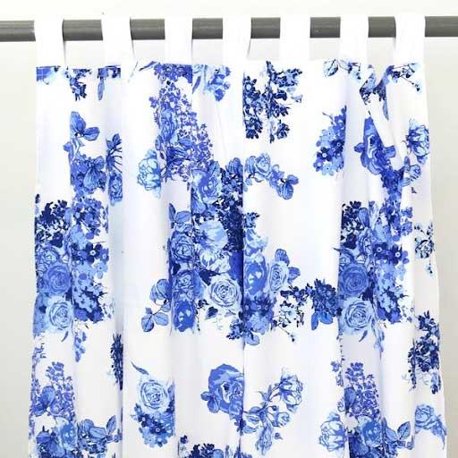 rèm họa tiết bông hồng màu xanh coban