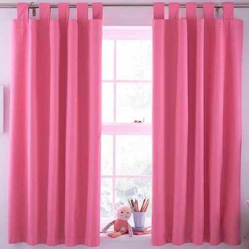 rèm vải màu hồng