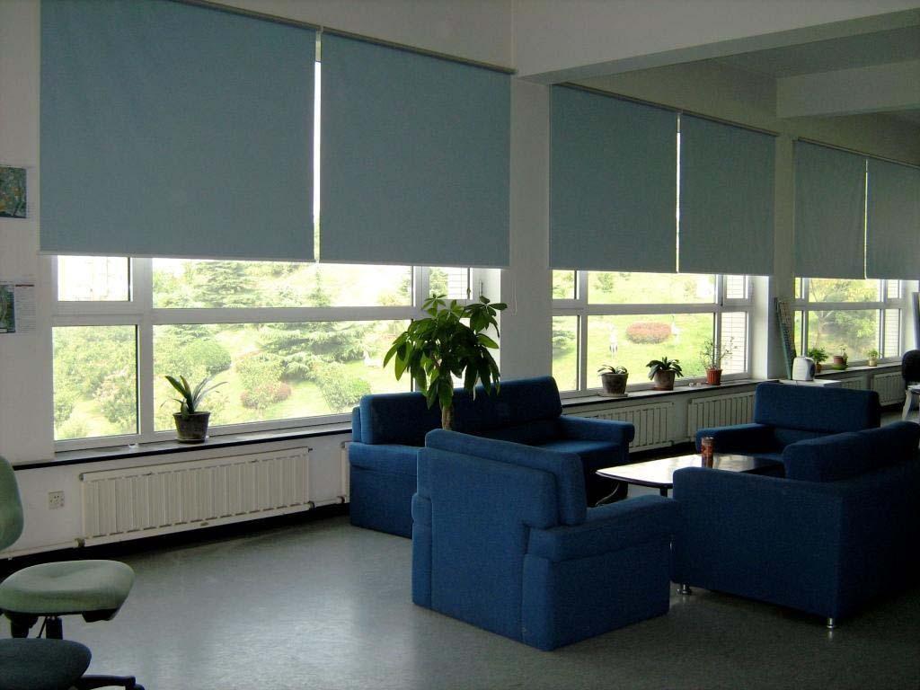 rèm màu xanh nhật che nắng cửa kính văn phòng