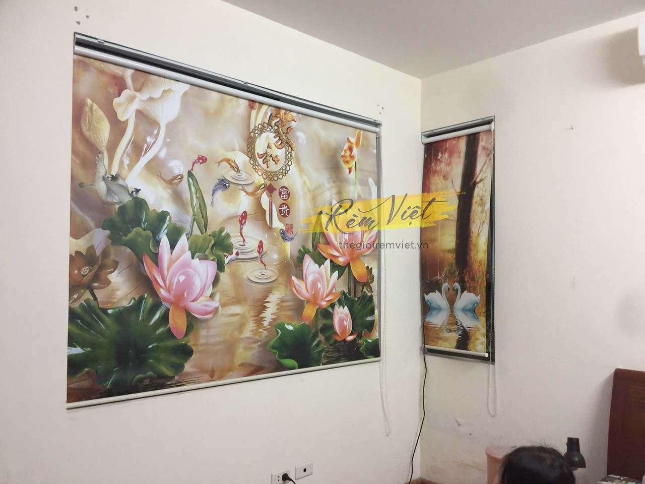 Mẫu rèm cuốn in tranh hoa sen cá chép