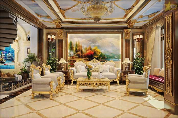 Không gian phòng khách cổ điển
