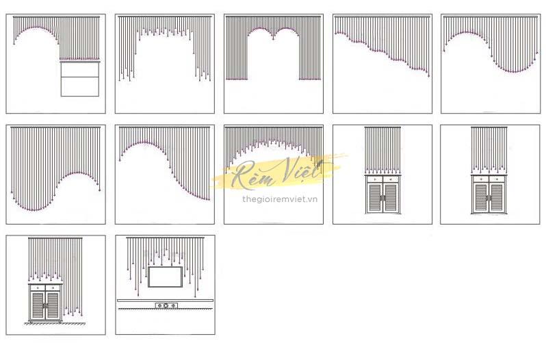 Mẫu thiết kế rèm pha lê