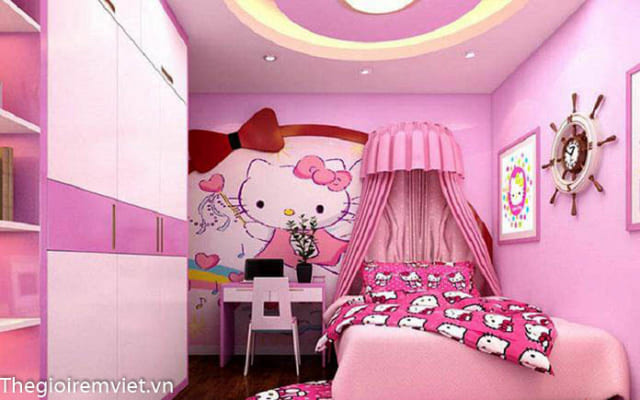 Gam màu hồng cho phòng ngủ bé gái điệu đà