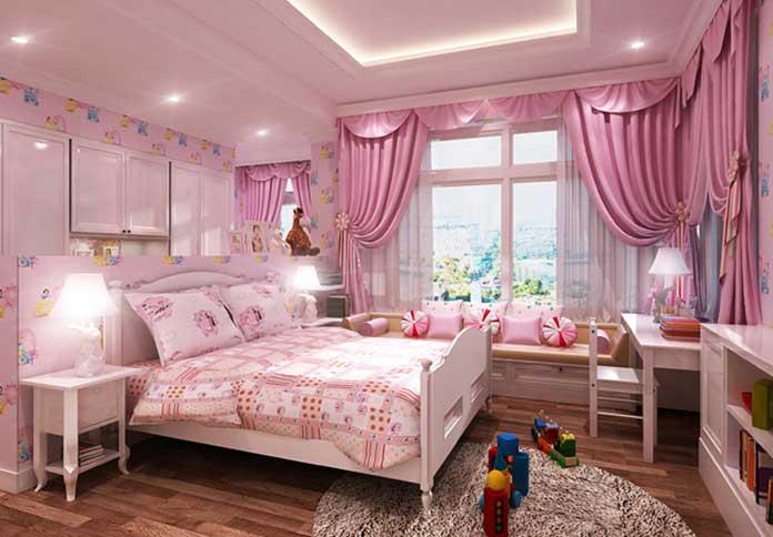Rèm trang trí phòng ngủ cho bé gái