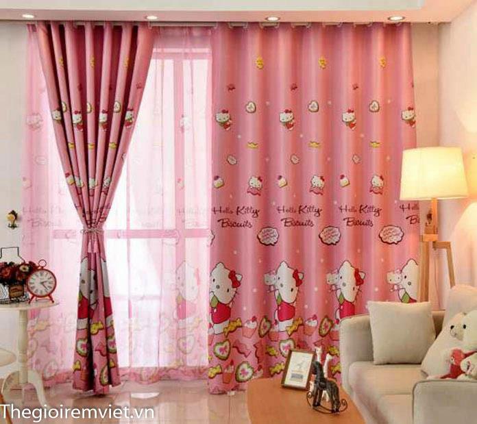 Rèm vải hai lớp màu hồng