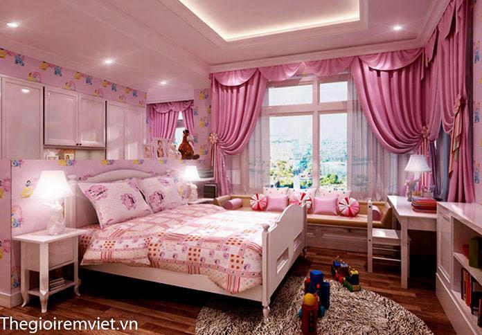rèm vải màu hồng đậm