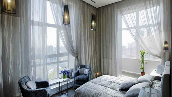 Rèm vải voan trang trí không gian phòng ngủ