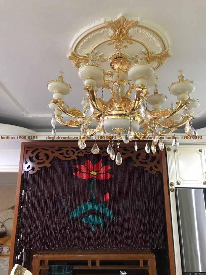 Rèm hạt gỗ hoạ tiết bông hoa
