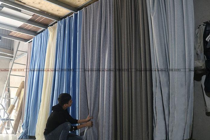 Các mẫu rèm vải đa dạng tại xưởng