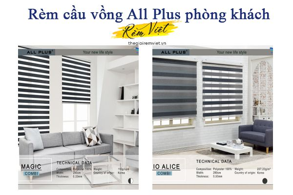 Rèm cầu vồng All Plus phòng khách - Thế giới rèm Việt