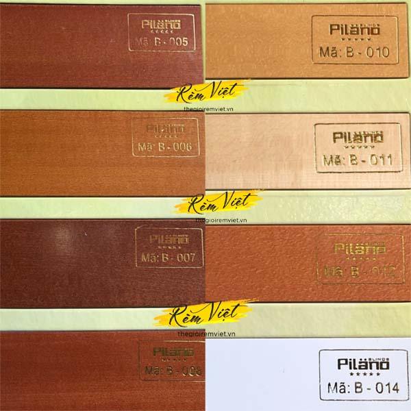 Bảng mẫu rèm gỗ pilano số 2 để khách hàng lựa chọn phù hợp với không gian gia đình