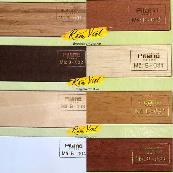 Bảng mẫu rèm gỗ pilano số 3 để khách hàng lựa chọn phù hợp với không gian gia đình