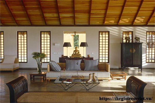 Mẫu thiết kế phòng khách phong cách tropical lịch sự sang trọng