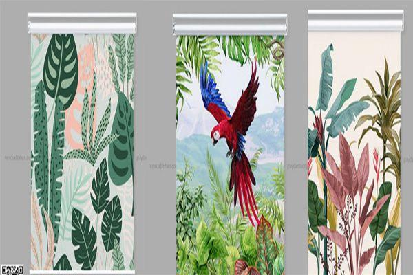 Rèm cuốn in tranh phong cách tropical