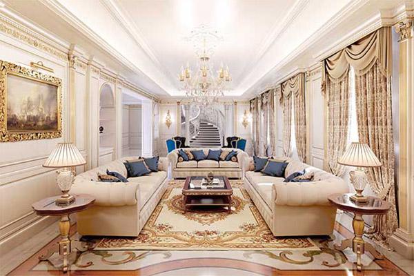 Rèm hoàng gia cho không gian phòng khách biệt thự