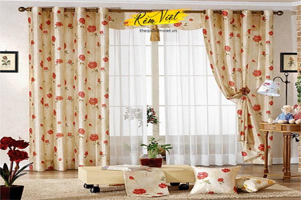 Rèm vải phòng khách một lớp mềm mại