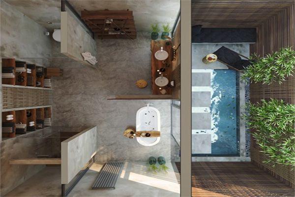 Thiết kế phòng tắm hơi hướng thiên nhiên theo phong cách nhiệt đới