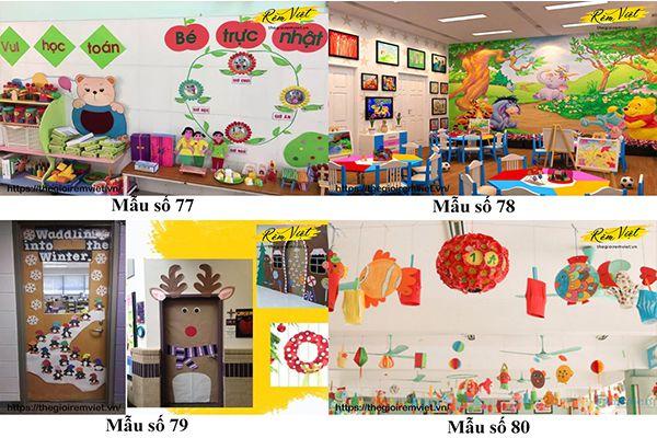 Mẫu trang trí lớp học mầm non giúp kích thích sự phát triển ý tưởng của trẻ nhỏ - Mẫu 77 đến 80